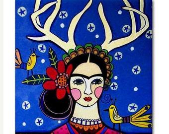 Mexican Folk Art Tile Ceramic Coaster Print of  Frida Kahlo painting by Heather Galler  deer Antlers