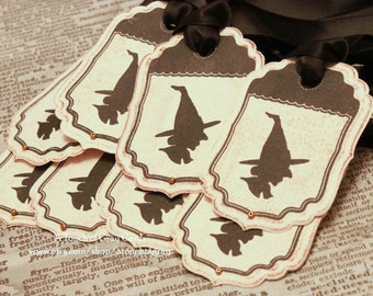 Halloween Gift Tags (Double Layered) - Silhouette Witch Tags - Vintage Inspired Handmade Halloween Tags (Set of 8) - Mini Tags