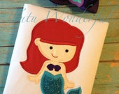 Girl little cute mermaid applique shirt personalized with name matching bow included