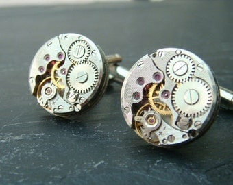 Industrial Watch Movement Cufflinks with genuine watch movements ideal stocking filler