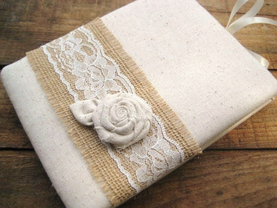 Guest Book Rustic Wedding  Muslin Burlap and Lace with Rose
