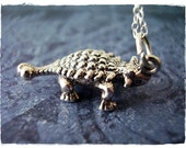Silver Ankylosaurus Necklace - Sterling Silver Ankylosaurus Charm on a Delicate 18 Inch Sterling Silver Cable Chain