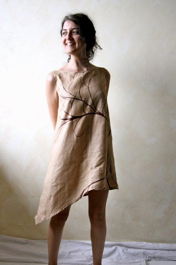 Linen tunic, asymmetrical dress, Linen dress, Pixie dress, Boho bridesmaids dress, organic dress, hand painted dress, linen tunic, day dress