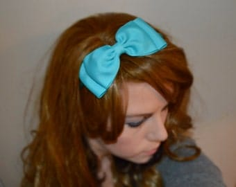 Turquoise Bow Headband/ Big Bow Headband/ Teen Hair Accessories/ Girls Hair Accessories/ Adult Hair Accessories/ Womens Hair Accessories