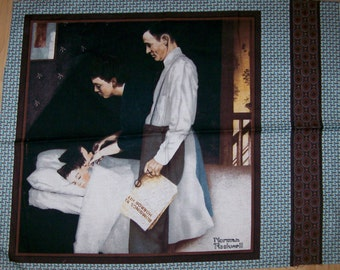 A Wonderful Norman Rockwell Saturday Evening Post Fabric Panel Free US Shipping #2