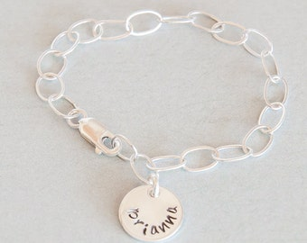 Girls Sterling Silver Charm Bracelet  Hand Stamped, Personalized with Name