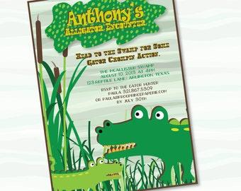 Alligator Gator Printable Birthday Invitation - DIY