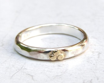 Wedding band ring Stacking ring Engagement ring 14k Gold ring and silver ring with Lovely 14k gold dots - made to order