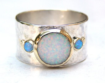 Unique Engagement Ring, Opal Ring, Gold and Silver Engagement Ring, Wedding Ring, Gemstone Ring, Engagement Ring, Anniversary Ring
