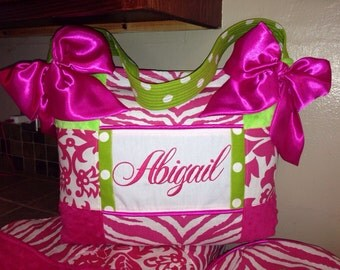 Hot Pink Lime Green HUGE Diaper Bag Beautiful Shower Gift Minky Dot Polka Dots Zebra Damask 3 Pockets