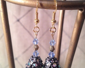 Blue and Gold Hanging Flower Earrings
