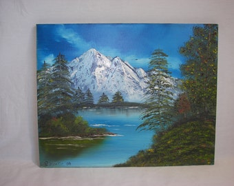 Oil Painting 16x20 AMERICAN EAGLE MOUNTAIN Lake Summit  Original Oil