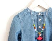 Girls Pink Tassel Boho Necklace, Modern children jewelry, Neon Pink Necklace