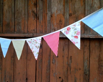 Bunting Flags Sweet Vintage Roses, Peony and Pink Stripes, Light Blue Dots, Lime Green
