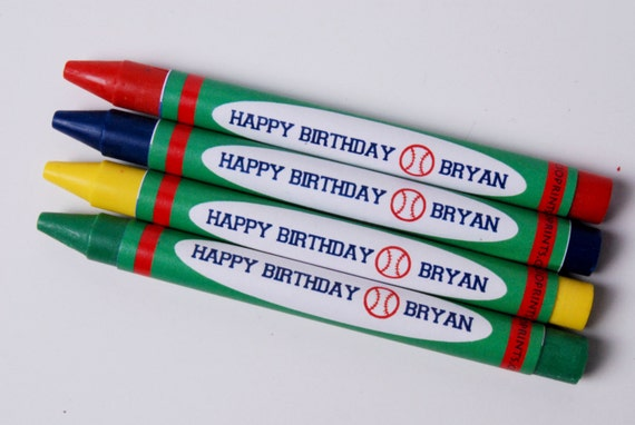 SALE Baseball Personalized Birthday Crayon Favors (Great Favors that would end up in the trash)