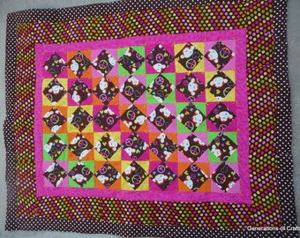 Baby Quilt - Funky Monkey and Peace - Baby Shower - Shower Gift - Baby Boy or Baby Girl  * birthday gifts for her ** Gift for Mothers Day