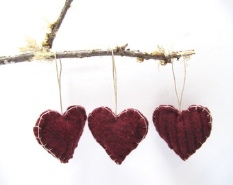 Valentine Heart Ornament, Trio of Hearts Up-cycled Ornament, Heart Ornament, Heart Wedding Favor, Valentine Hearts Ornament