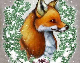 Snowy Fox Art Print