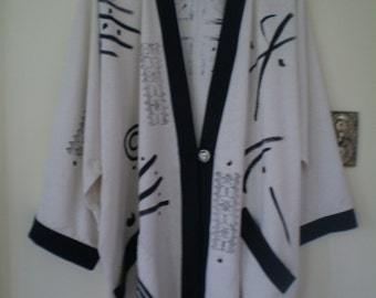 NEW-Handmade-one of a kind Kimono style 79.00 Raw Silk Jacket with black painting-One size fits most