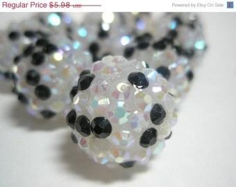 CLEARANCE SALE 18mm - HOT & New -10 Rhinestone Resin Balls - Black n White Basketball Wives Inspired