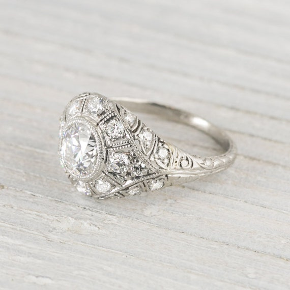 Items similar to Vintage Art Deco 90 Carat Vintage Engagement Ring on Etsy