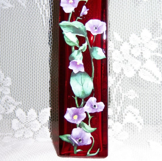 Red vase - purple floral with swarovski crystals