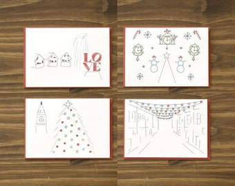 box of 8 variety philadelphia festive holiday red christmas cards