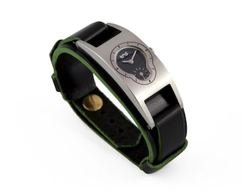 Black leather watch, black and green watch  - Deco 2.0