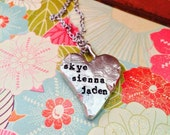 Today Only Sale---NEW-Hand Cast Pewter Heart Hand Stamped Necklace