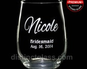Bridemaid Gifts - NICOLE STEMLESS WINE Glasses Etched Glass - 17 oz Etched Wine Glass Gifts by Distinct Glass Studio - Ships to Canada