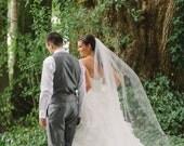 75 inch single tier classic, sheer, plain and simple, elegant chapel veil, floor length veil, waltz, wedding veil, bridal veil