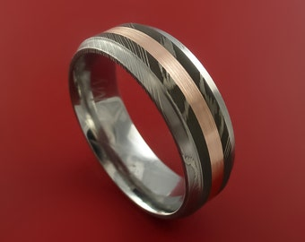 Damascus Steel 14K Rose Gold Ring Wedding Band Any size 3-22