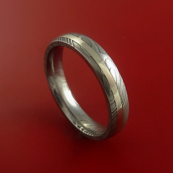 Damascus Steel Ladies 14K White Gold Ring Hand Crafted Wedding