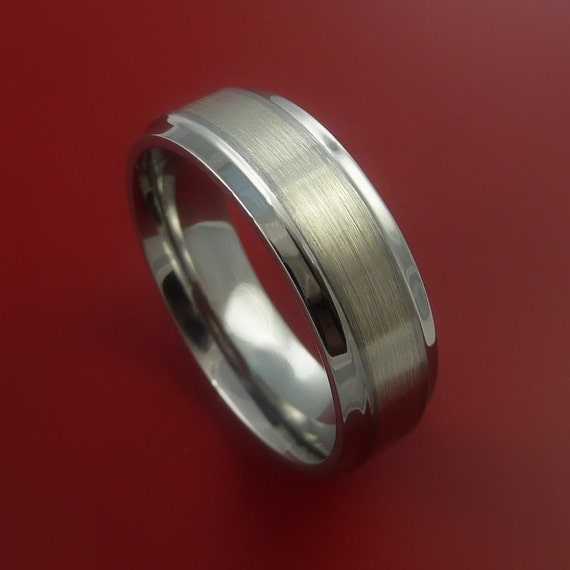 14K White Gold Ring and Titanium Band Any Finish and Sizing from 3-22