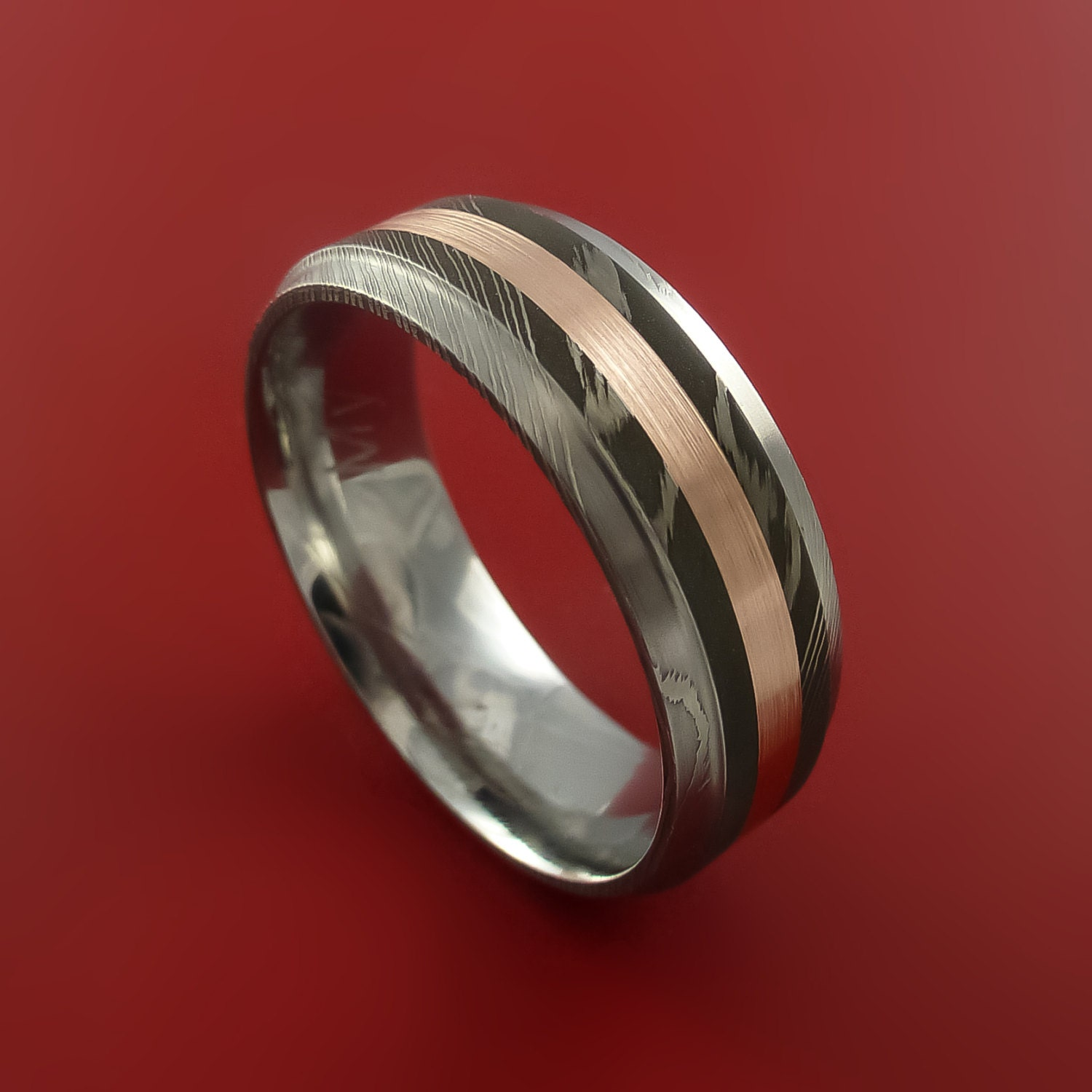 Damascus Steel 14k Rose Gold Ring Wedding Band Any Size 3 22