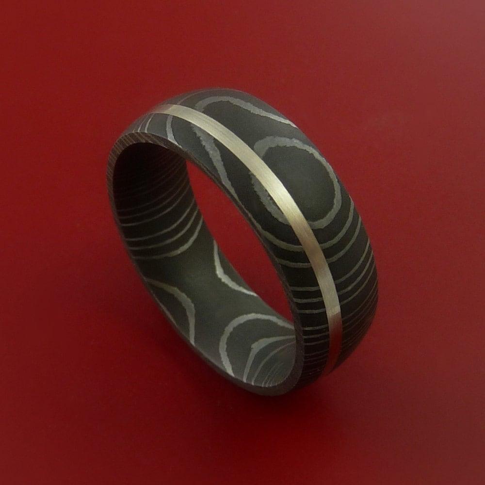 Damascus Steel Wedding Band: Damascus Steel 14K White Gold Ring Wedding Band Custom Made