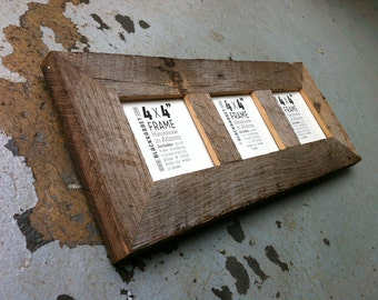 3 Opening Natural Reclaimed Wood Picture Frame (4x4)