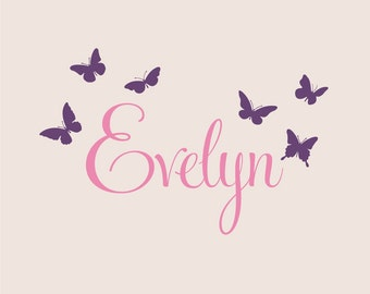 Personalized Name With Butterflies, Custom Vinyl wall decals stickers, nursery, kids & teens room, removable decals stickers