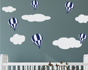 Hot air balloon and Clouds set Fabric wall decal, Removable, reusable and repositionable fabric decal