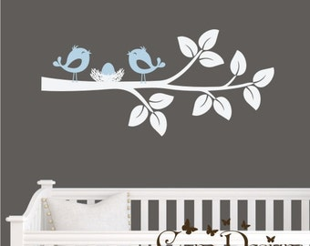 Branch with Birds and nest - Vinyl Wall Decal, nursery, kids room, removable wall decal set, Nursery decor