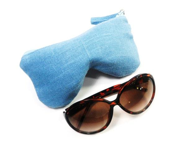 blue linen eyeglass sunglasses pouch sunglasses