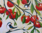 Reserved for Karen - 16x20 Original painting - Chickadees and Apples