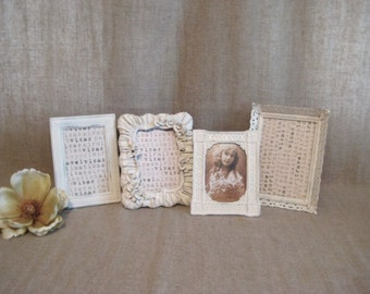 Cottage Chic Frame Collection for Wedding or Home Decor / 4 Frames in Heirloom White