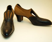 Teens Victorian Edwardian 20s NOS Heels Cocoa Brown Suede Black Leather