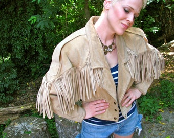 Vintage 1980s SUEDE Fringed Cowgirl RODEO Queen Cropped Jacket