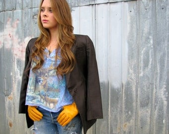 Vintage 1990s GIORGIO ARMANI Wool Slate Gray  BLAZER Jacket Made in Italy