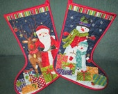 Christmas Stocking Santa and Snowman Reversible