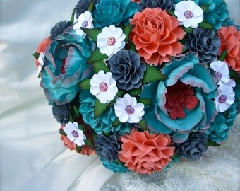 Teal, Coral and Grey  Handmade Paper Flower Wedding Bouquet - Customize your Style and Colors - Made To Order