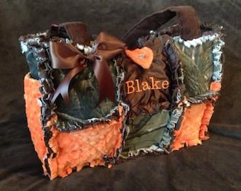 Rag quilted real tree mossy oak safety orange diaper bag handbag boy or girl