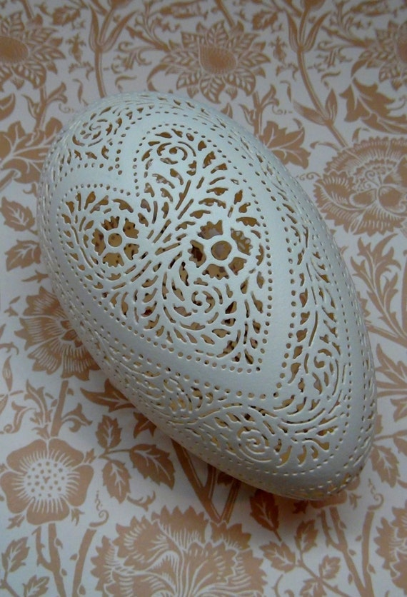 Jumbo hand carved victorian lace goose egg hearts and